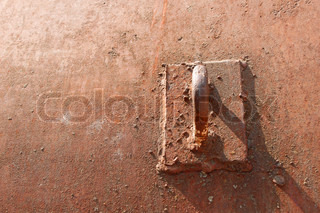 Technological hinge on the old rusty metal objects