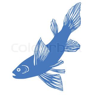 vektor silhuet af fisk på hvid baggrund