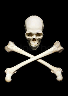 Real human skull with srossed bones