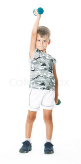 Boy holding dumbbells  isolated on white background