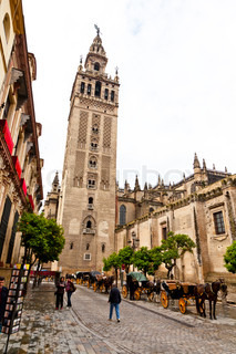 Spain, Andalusia. The Cathedral of Santa Maria de la Sede. One of the landmarks of the city.