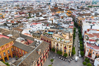 Cityscape and Skyline of Sevilla in Andalusia, Spain. View from the Giralda.