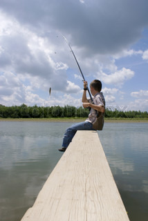 The boy will fish in the river