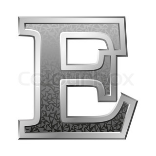 Metal Letter E With A Silvery Fringing On A Red Background