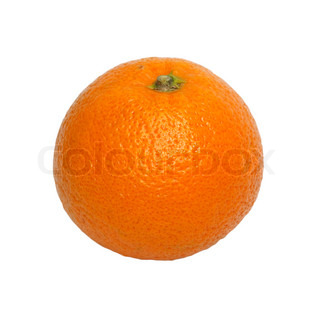 A large orange isolated on a white background