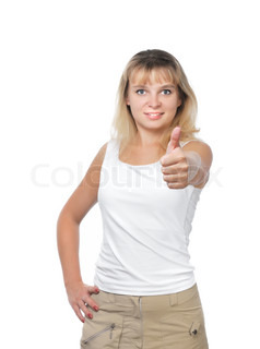 Young businesswoman showing ok over white background