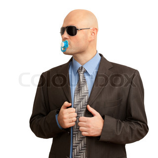 funny bald man in suit with soother. isolated on white