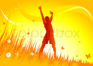 Silhouetted woman gimping with heir arms up in grassy field.