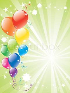vector festive balloons and lightburst with space for text