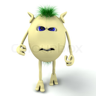 3d angry character puppet on the white background