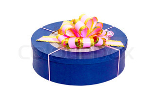 round blue gift box with pink bow