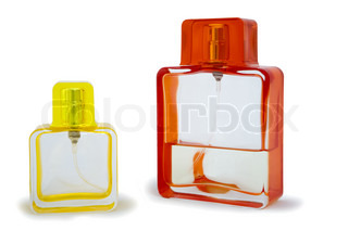 two perfume bottle isolated