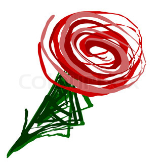 Red rose drawn swirl over white background