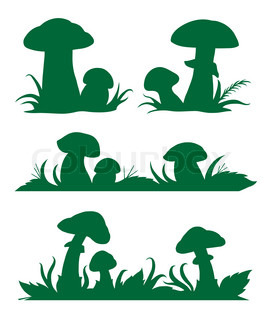 Vector images of mushrooms silhouettes for registration of book pages