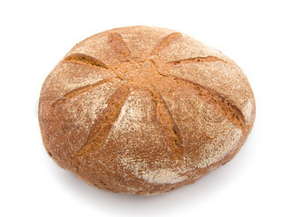 fresh round bread on white background