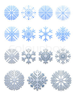 Collection of snowflakes for registration a web of pages and polygraphy
