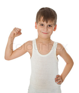 Boy showing his muscle on white background