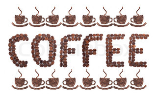 Coffee word made of beans on white background