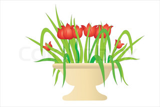 Vector illustration of flowers in ceramic vase