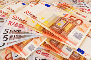 background of the folded fan of different denomination euro
