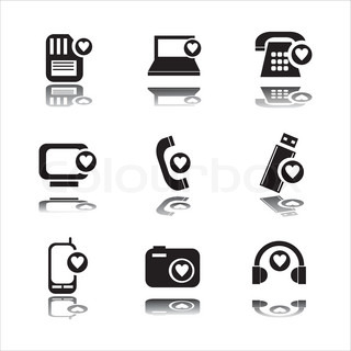 set of 9 technology with hearts icons