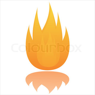 glossy fire  isolated on white