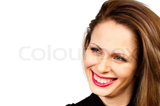 portrait of a young woman on a white background
