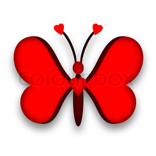 Butterfly red heart design
