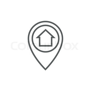Pointer With House Inside Thick Line Icon With Pointed Corners And Edges For Web Mobile And Infographics Vector Isolated Icon Vector 18244695 on house plans drawing app