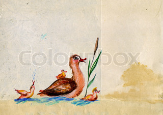 baby drawing duck on old paper
