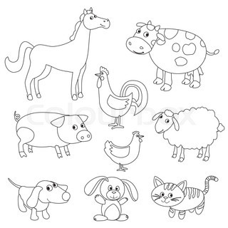 cartoon critters offers coloring pages | Cute cartoon farm animals and birds for coloring book ...
