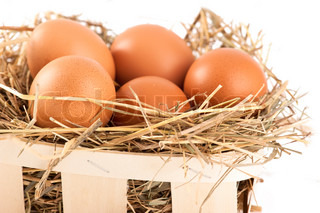 Macro shoot of brown eggs in wooden basket at hay. Shallow depth of field