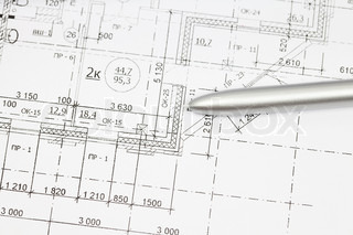 background of architectural drawing ahd pen