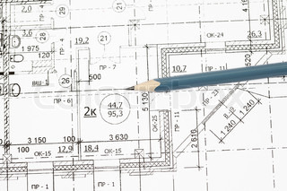 background of architectural drawing ahd pencil