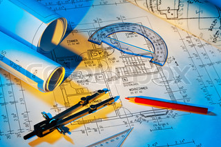 R blueprint for a house. Floor Plans and drawings of an architect.