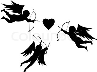 Valentine vector illustration of the Cupids and heart
