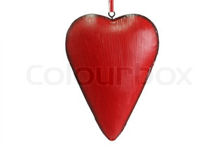 Red heart on a over white background