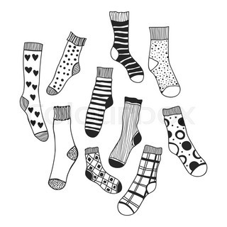 Black And White Doodle Socks Isolated Vector 18505129 on cold front symbol