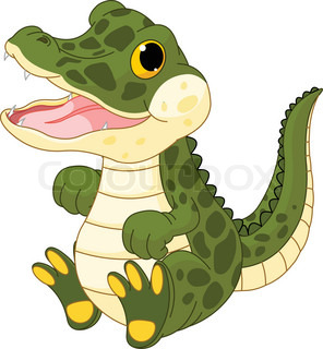 Illustration of very cute baby crocodile