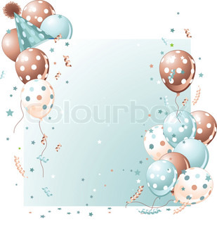 Blue birthday card with balloons, hat and plenty of copy space.