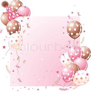 Pink fødselsdag kort med balloner , hat og masser af kopi plads .