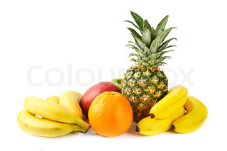 fresh tropical fruits: banana, mango,  pineapple, orange,  isolated on white background