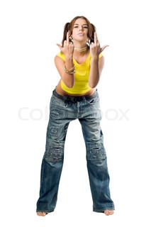 Naughty girl in wide jeans gesturing . Isolated on white