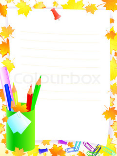 school supplies with frame for tour text against yellow and orrange maple leaves
