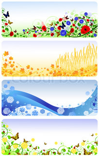 Illustration of four seasons banners. Summer, autumn, winter and spring