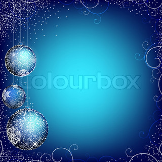 Christmas theme with balls, snowframe and copyspace into the blue
