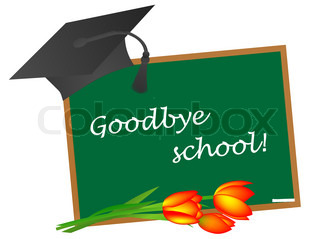 Education theme:school blackboard with tulips and graduate cap
