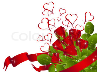 illustration of red rose bouquet with heart and copyspace for your text