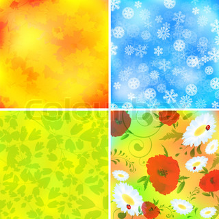 Set of four season backgrounds: summer,spring,autumn and winter