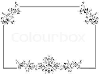 Illustration Of Vintage Floral Frame In Black And White With Copyspace